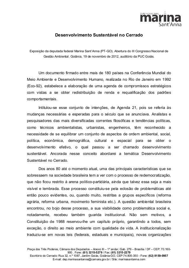 Desenvolvimento Sustentável no Cerrado Exposição da deputada federal Marina Sant'Anna (PT-GO). Abertura do III Congresso N...