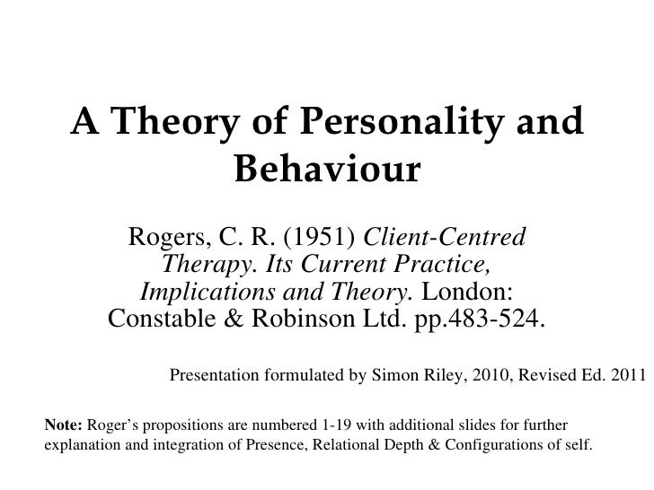 A Theory of Personality and Behaviour.