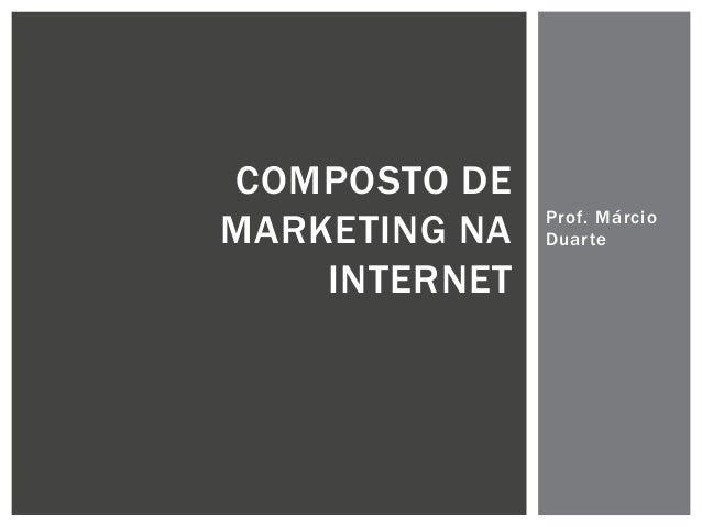 COMPOSTO DE MARKETING NA INTERNET  Prof. Márcio Duarte