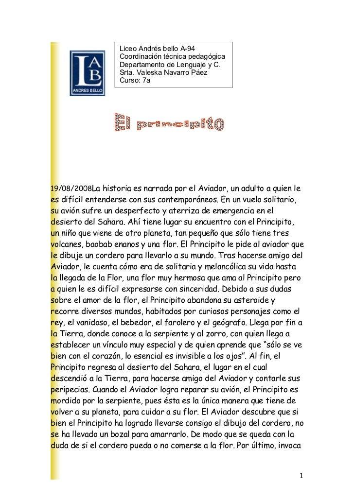 Liceo Andrés bello A-94                    Coordinación técnica pedagógica                    Departamento de Lenguaje y C...