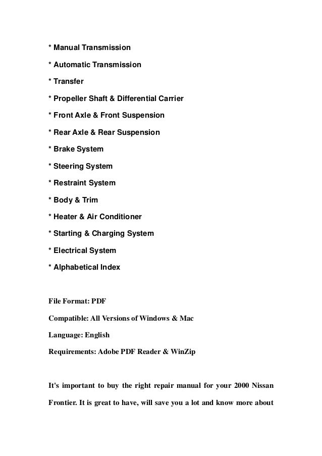 2000 nissan frontier service repair manual download rh slideshare net 2000 Nissan Frontier Shop Manual 2000 Nissan Frontier Repair Manual
