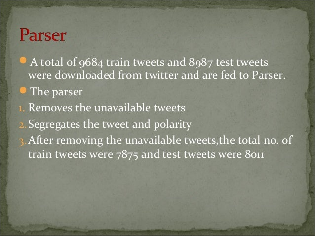 A total of 9684 train tweets and 8987 test tweets were downloaded from twitter and are fed to Parser. The parser 1. Remo...
