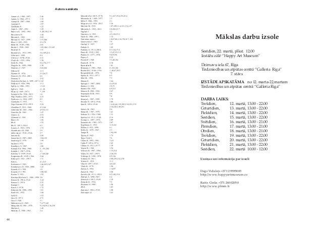 44 Autoru saraksts Mākslas darbu izsole Sestdien, 22. martā, plkst. 12.00 Izstāžu zālē ''Happy Art Museum'' Dzirnavu iela ...
