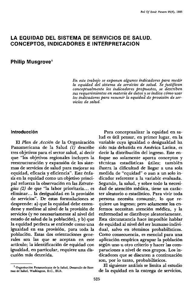 19.la equidad del sistema de servicios de salud. philip musgrove22