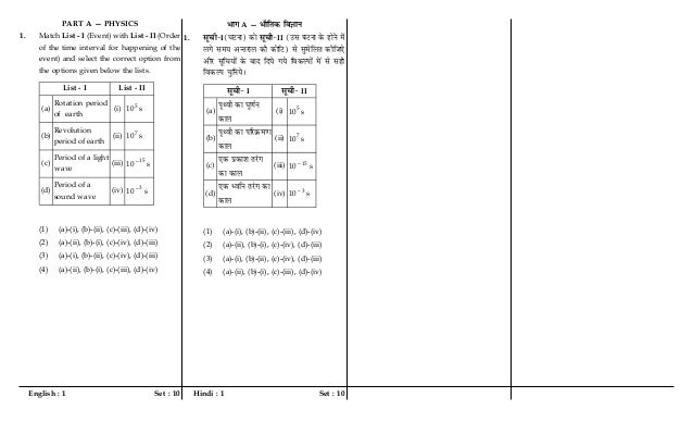 English : 1 Set : 10 Hindi : 1 Set : 10 PART A — PHYSICS 1. Match List - I (Event) with List - II (Order of the time inter...