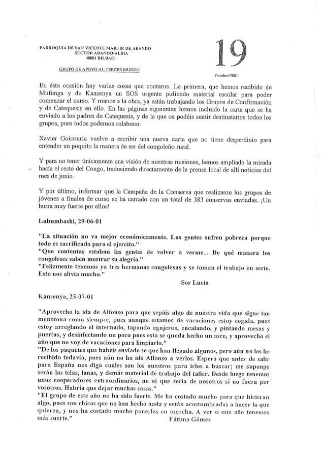 PARROQUIA DE SAN VICENTE MARTIR DE ABANDO SECTOR ABANDO-ALBIA 48001 BILBAO     GRUPO DE APOYO AL TERCER MUNDO Octubre/ ZOO...