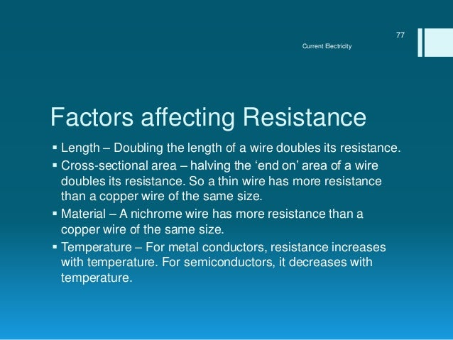 Current electricity current electricity 76 77 factors affecting resistance length greentooth Images