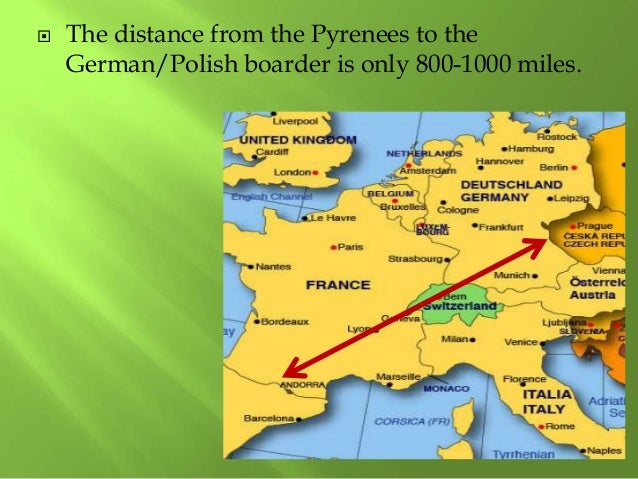  The distance from the Pyrenees to the German/Polish boarder is only 800-1000 miles.