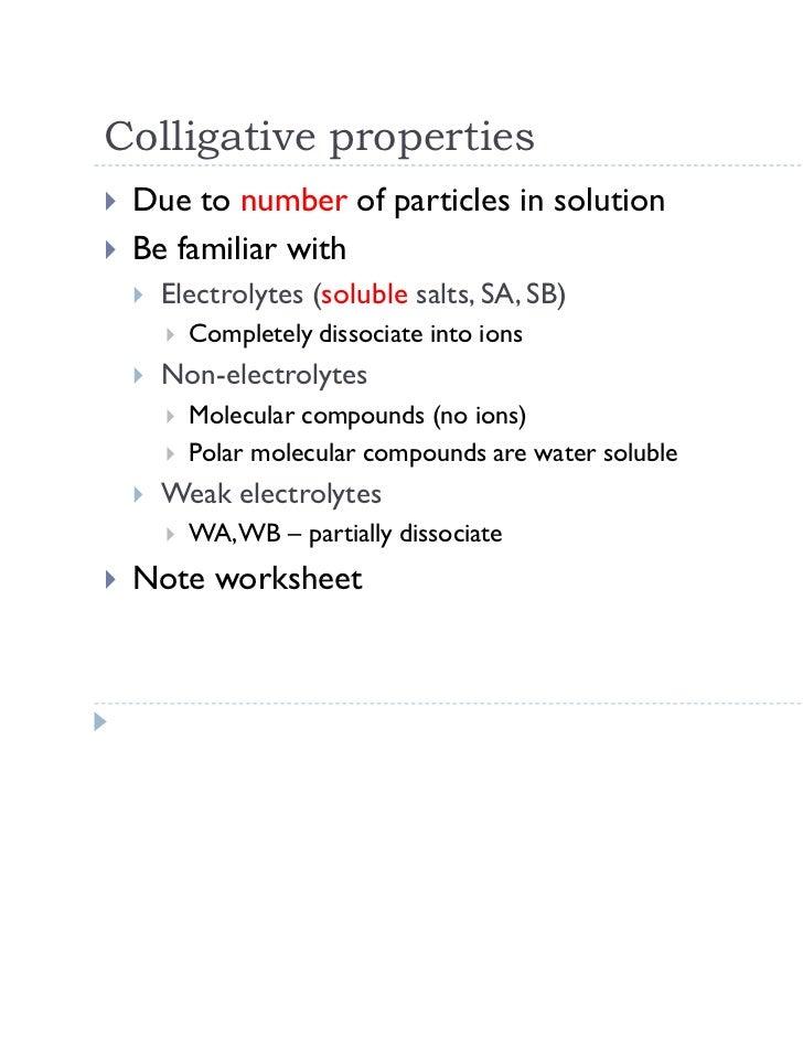 Colligative Properties Worksheet – expandingme.co
