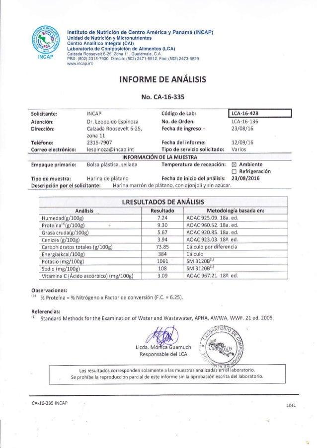 @INCAP lnst¡tuto de Nutric¡ón de Centro América y Panamá 0NCAP) Un¡dad de Nutrición y Micronulrientes centro Analítico lnt...