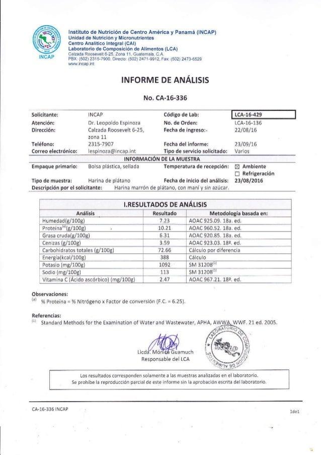 @INCAP lnstituto de Nutricióñ de Centro América y Panamá (INCAP) Unidad de Nutrición y Micronutrientes Cenlro Analitico lñ...