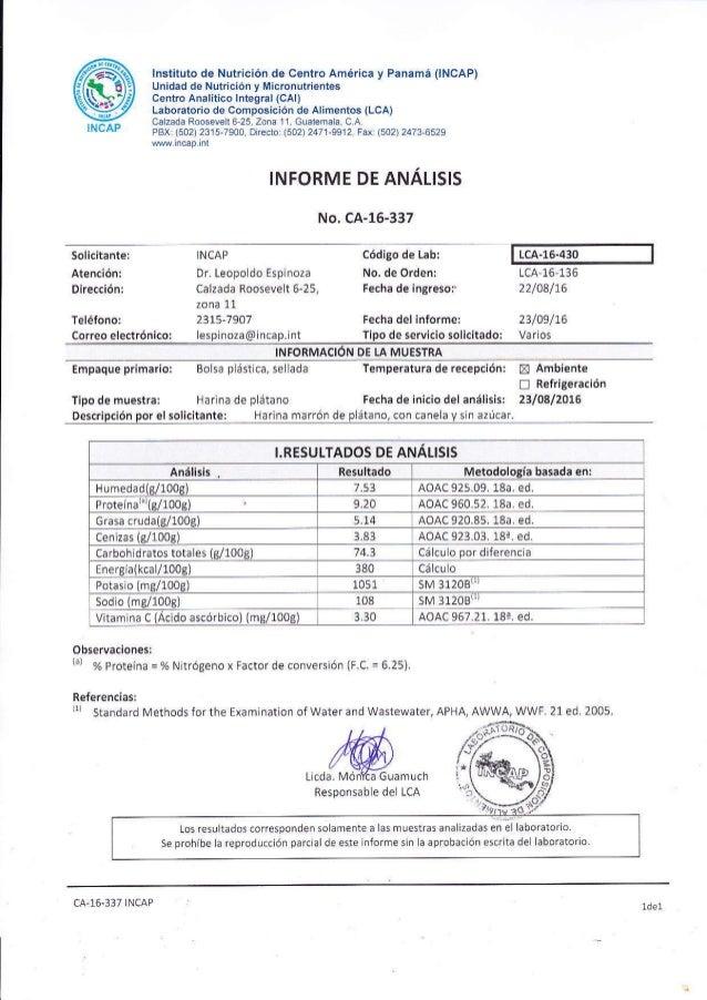 @INCAP lnstituto de Nutrición de Centro América y Panamá 0NCAP) Uñidad de Nutlición y l¡icronutriéntes Ceñtro Analítico ln...