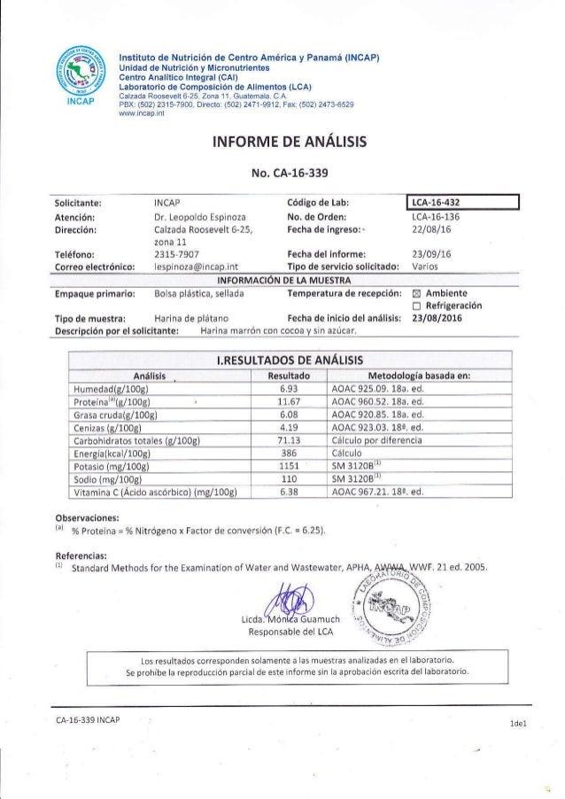 @INCAP lnstituto de Nutrición de Centro Añérica y Panámá (INCAP) Unidad de Nutrición y Micronutrientes centro AnalÍtico ln...