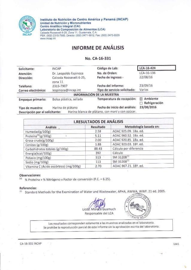 lnstitüto de Nutrición de Centro América y Panamá (INCAP) Unidad de Nutrición y l¡icronutrientes centro Analít¡co lntegral...