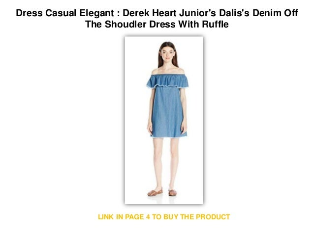 c7bf3307098 Dress Casual Elegant   Derek Heart Junior s Dalis s Denim Off The Shoudler  Dress With Ruffle Dress Elegant