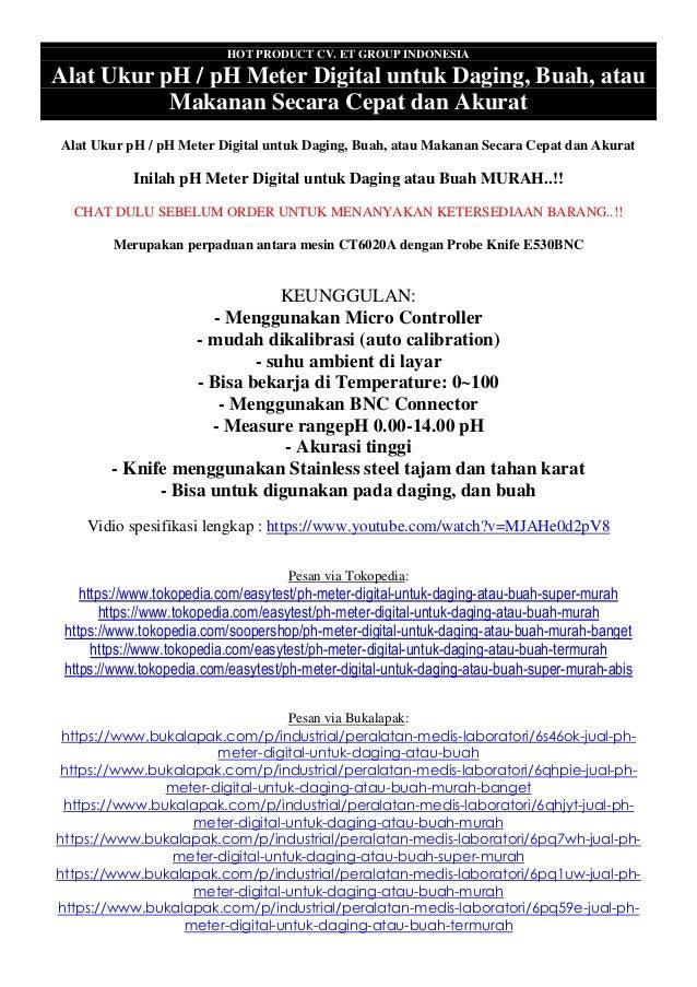 HOT PRODUCT CV. ET GROUP INDONESIA Alat Ukur pH / pH Meter Digital untuk Daging, Buah, atau Makanan Secara Cepat dan Akura...