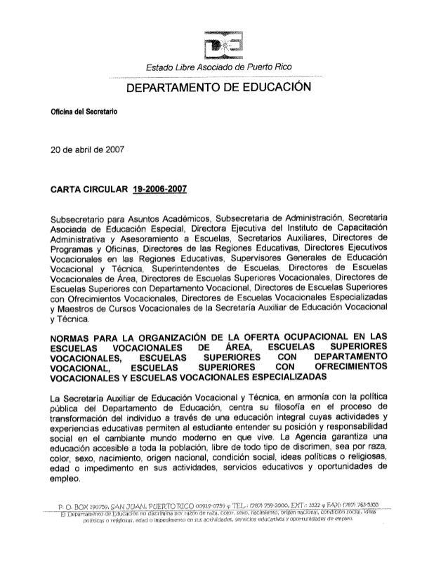 Carta Circular 19 2006-2007