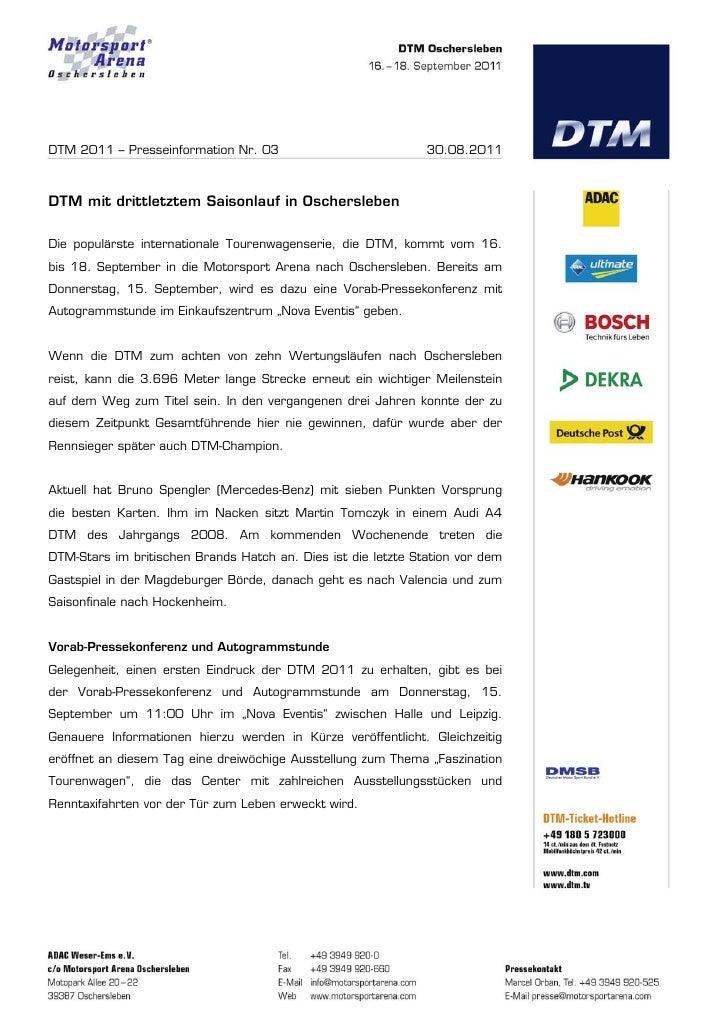 DTM 2011 – Presseinformation Nr. 03                            30.08.2011DTM mit drittletztem Saisonlauf in OscherslebenDi...