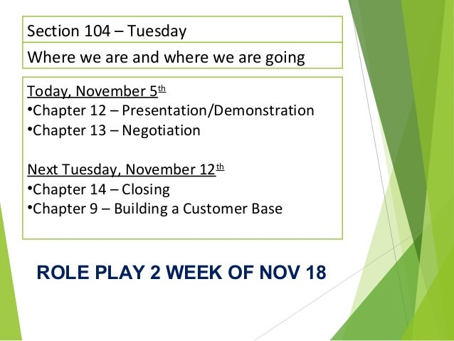 Section 104 – Tuesday Where we are and where we are going Today, November 5th •Chapter 12 – Presentation/Demonstration •Ch...