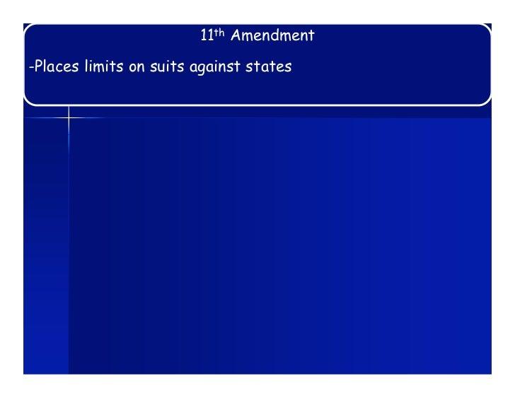 11th Amendment-Places limits on suits against states