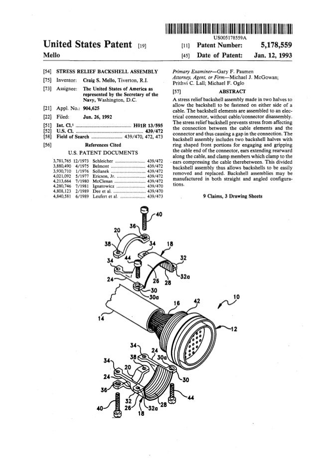 United States Patent [19J Mello [54] STRESS RELIEF BACKSHELL ASSEMBLY [75] Inventor: Craig S. Mello, Tiverton, R.I. [73] A...