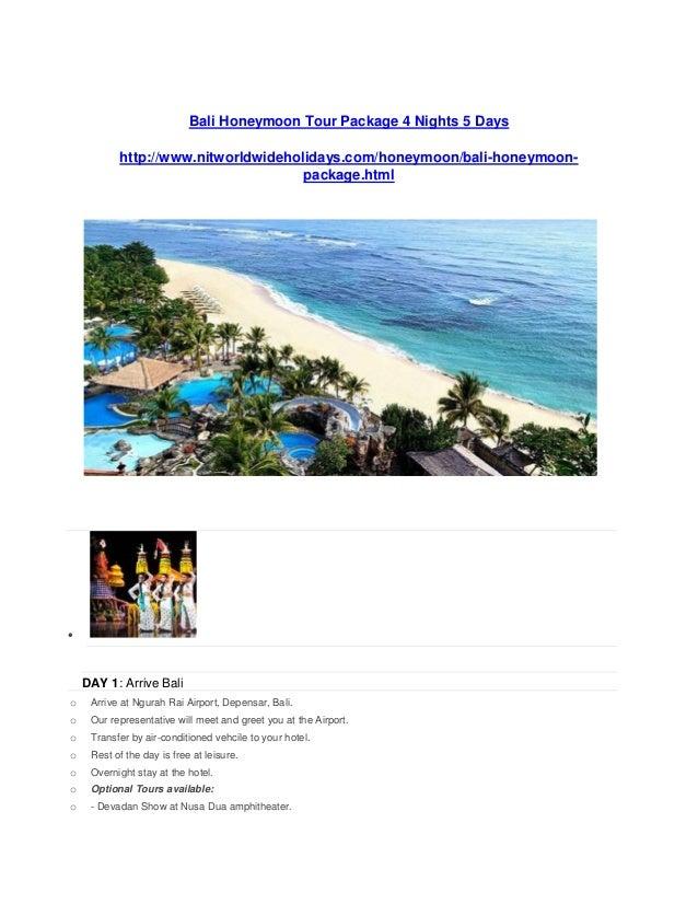 Bali Honeymoon Tour Package  Days Www Nitworldwideholidays