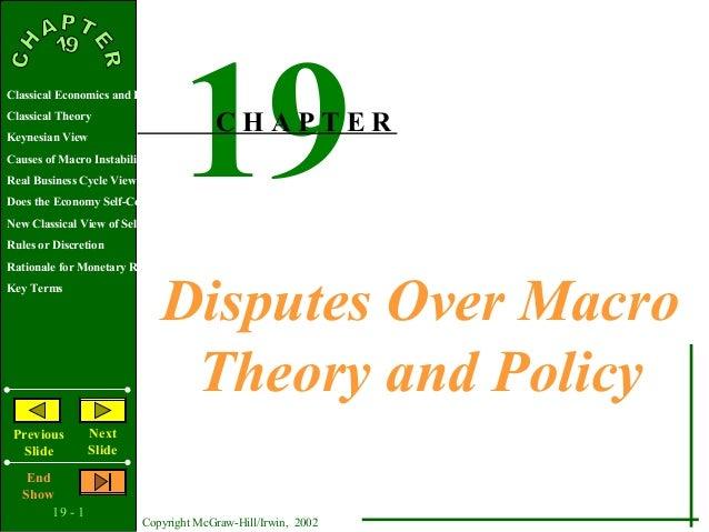 19 - 1Copyright McGraw-Hill/Irwin, 2002Classical Economics and KeynesClassical TheoryKeynesian ViewCauses of Macro Instabi...