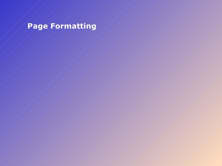 Page Formatting