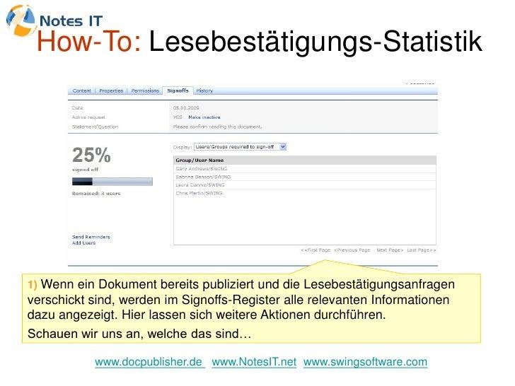 How-To: Lesebestätigungs-Statistik     1) Wenn ein Dokument bereits publiziert und die Lesebestätigungsanfragen verschickt...