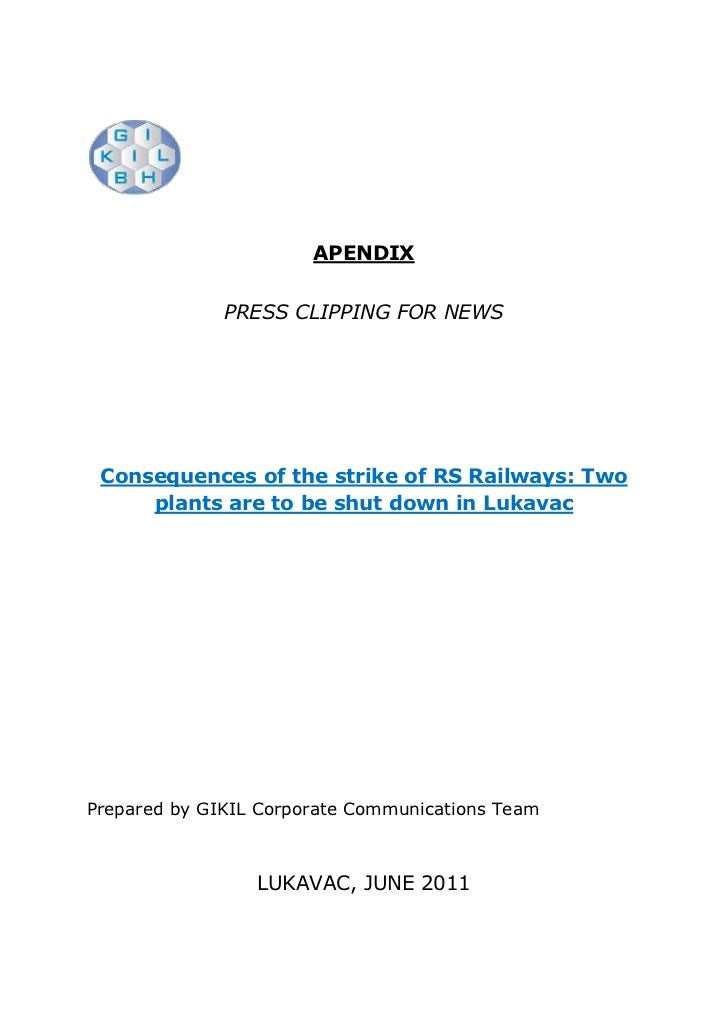APENDIX<br />PRESS CLIPPING FOR NEWS<br />Consequences of the strike of RS Railways: Two plants are to be shut down in Luk...