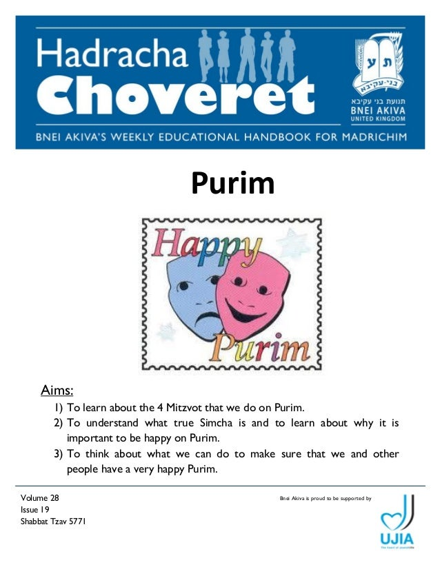 Bnei Akiva is proud Volume 28 to be supported by  Issue 19  Shabbat Tzav 5771  Purim  Aims:  1) To learn about the 4 Mitzv...