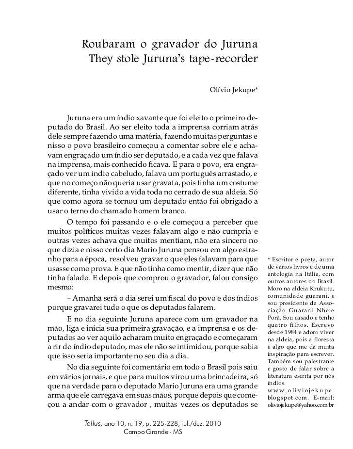 Roubaram o gravador do Juruna           They stole Juruna's tape-recorder                                                 ...