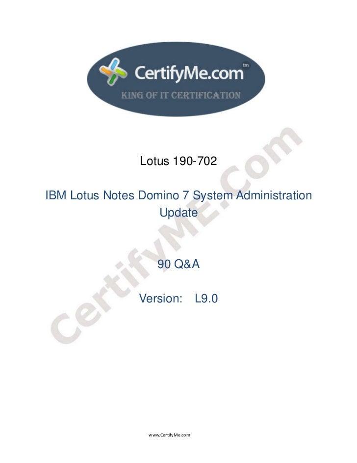 Lotus 190-702    IBM Lotus Notes Domino 7 System Ad...