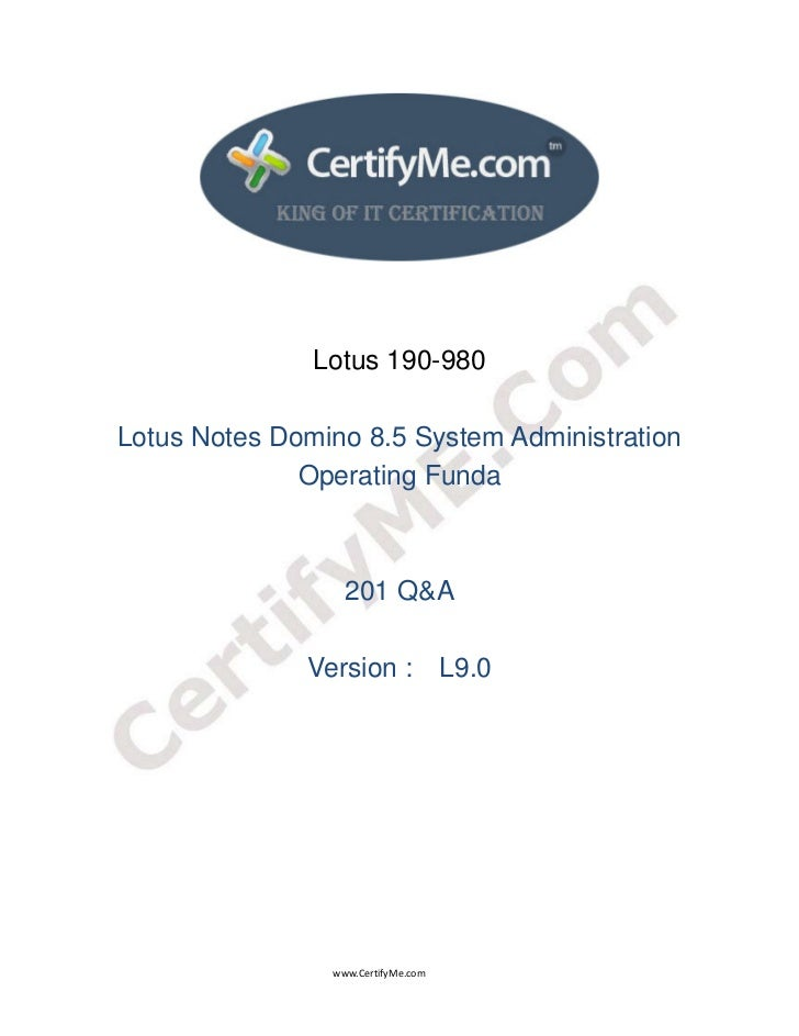 Lotus 190-980      Lotus Notes Domino 8.5 System Ad...