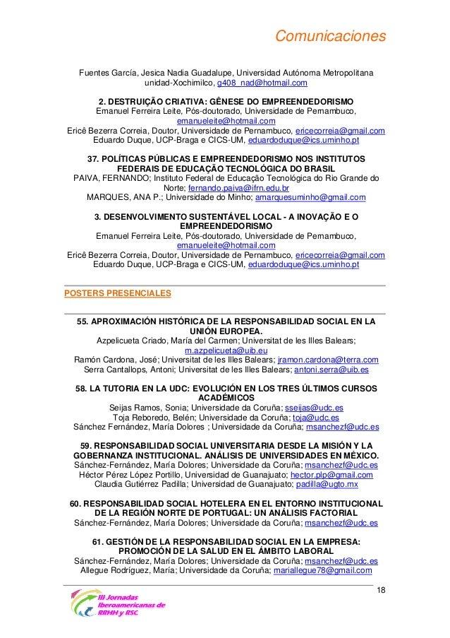 Comunicaciones 62. RESPONSABILIDAD SOCIAL UNIVERSITARIA: GESTIÓN DE UN EVENTO SOCIALMENTE RESPONSABLE Sánchez-Fernández, M...