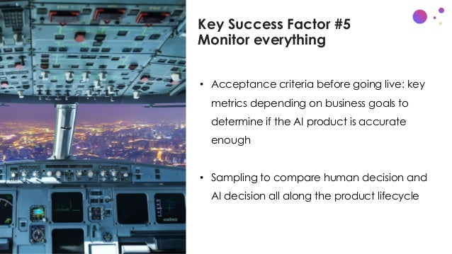 Key Success Factor #5 Monitor everything • Acceptance criteria before going live: key metrics depending on business goals ...