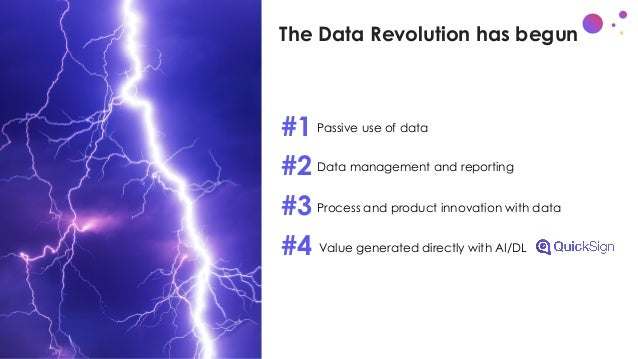 The Data Revolution has begun 1. Passive use of data 2. Data management and reporting 3. Process and product innovation wi...