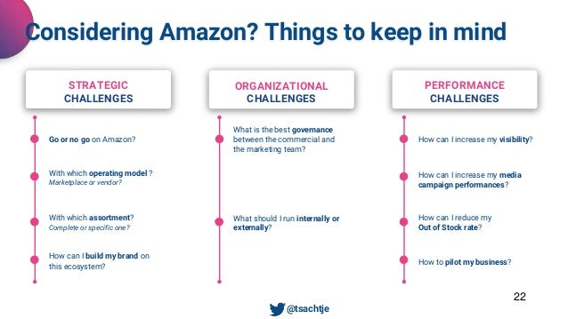 22 Considering Amazon? Things to keep in mind • @tsachtje Go or no go on Amazon? STRATEGIC CHALLENGES ORGANIZATIONAL CHALL...