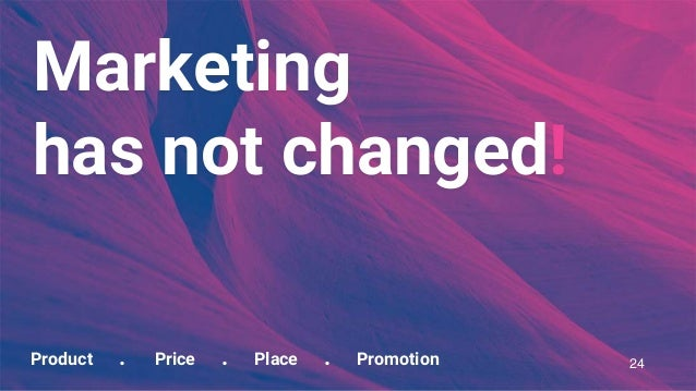 Product . Price . Place . Promotion Marketing has not changed! 24