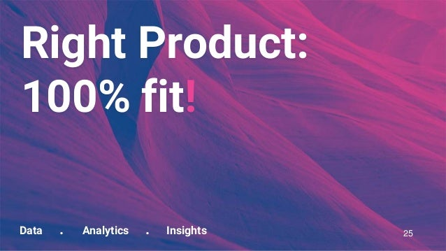 Data . Analytics . Insights Right Product: 100% fit! 25