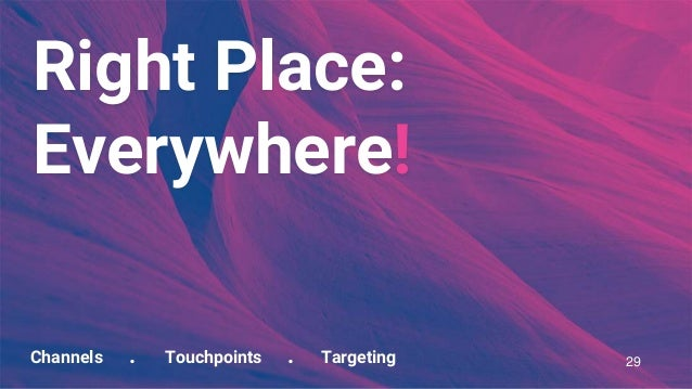 Channels . Touchpoints . Targeting Right Place: Everywhere! 29
