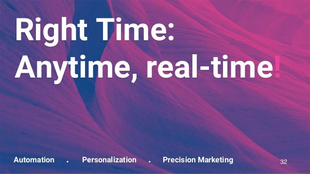 Automation . Personalization . Precision Marketing Right Time: Anytime, real-time! 32