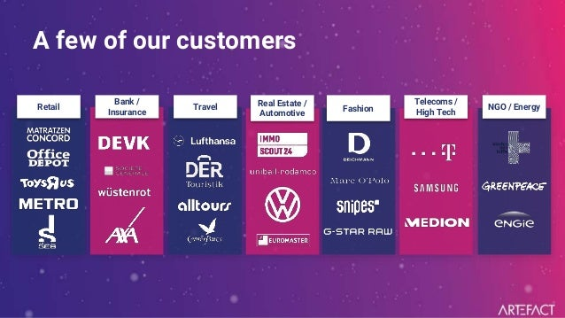 Retail Bank / Insurance Travel Real Estate / Automotive Fashion Telecoms / High Tech NGO / Energy A few of our customers