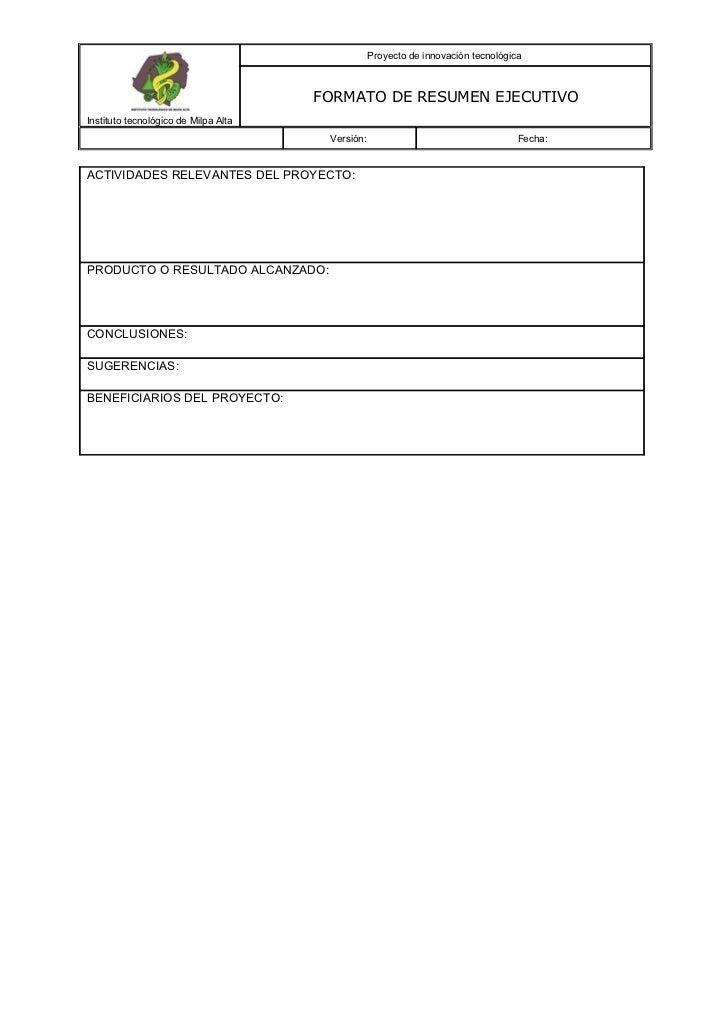 19027078 formato-de-resumen-ejecutivo-para-presentacion-de-proyectos Slide 2