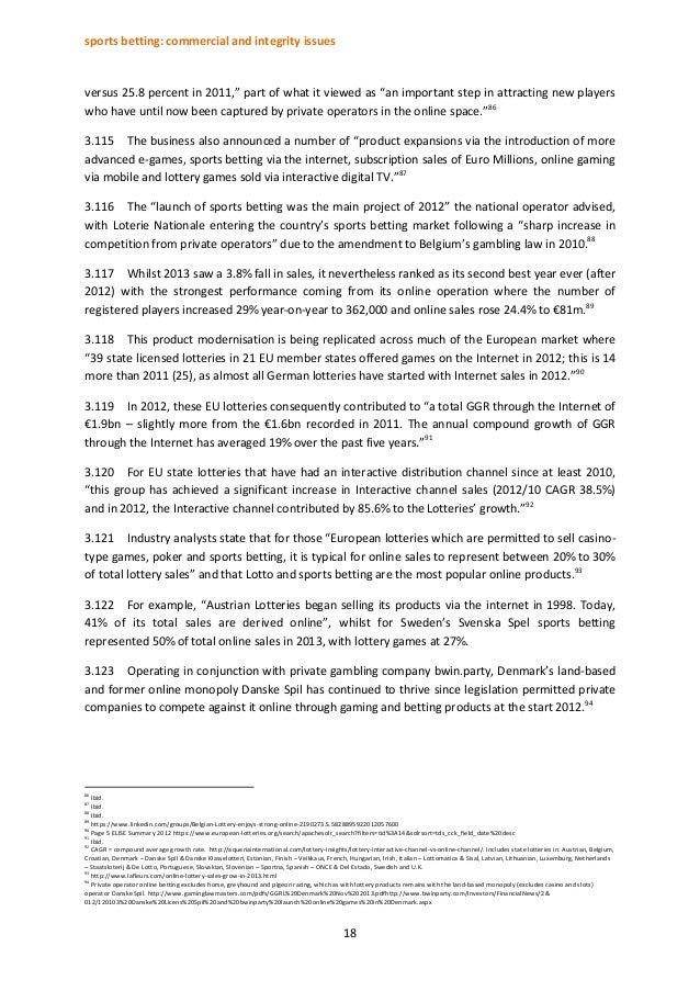 """sports betting: commercial and integrity issues 18 versus 25.8 percent in 2011,"""" part of what it viewed as """"an important s..."""