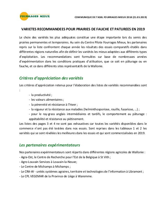 COMMUNIQUE DE l'ASBL FOURRAGES MIEUX 2018 (21.03.2019) VARIETES RECOMMANDEES POUR PRAIRIES DE FAUCHE ET PATUREES EN 2019 L...