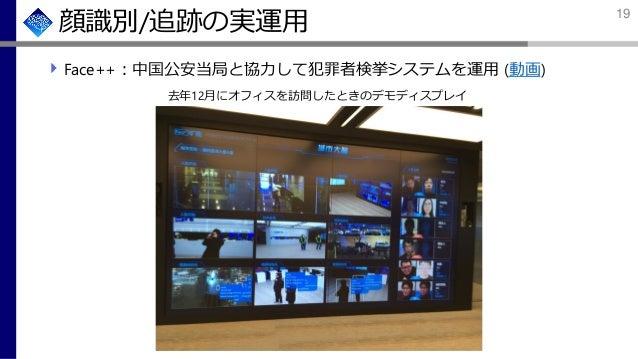 顔識別/追跡の実運用 Face++:中国公安当局と協力して犯罪者検挙システムを運用 (動画) 去年12月にオフィスを訪問したときのデモディスプレイ 19