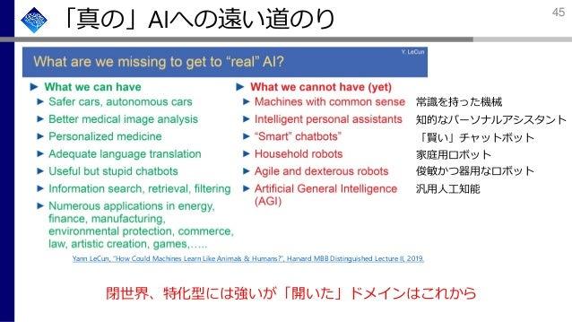 """「真の」AIへの遠い道のり 閉世界、特化型には強いが「開いた」ドメインはこれから 常識を持った機械 知的なパーソナルアシスタント 「賢い」チャットボット 家庭用ロボット 俊敏かつ器用なロボット 汎用人工知能 Yann LeCun, """"How C..."""