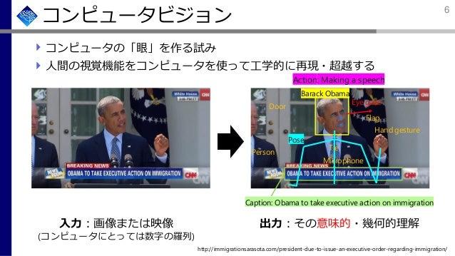 コンピュータビジョン コンピュータの「眼」を作る試み 人間の視覚機能をコンピュータを使って工学的に再現・超越する 入力:画像または映像 (コンピュータにとっては数字の羅列) 出力:その意味的・幾何的理解 http://immigrationsa...