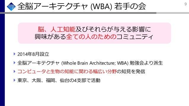 全脳アーキテクチャ (WBA) 若手の会 2014年8月設立 全脳アーキテクチャ (Whole Brain Architecture; WBA) 勉強会より派生 コンピュータと生物の知能に関わる幅広い分野の知見を発信 東京、大阪、福岡、仙台の4...